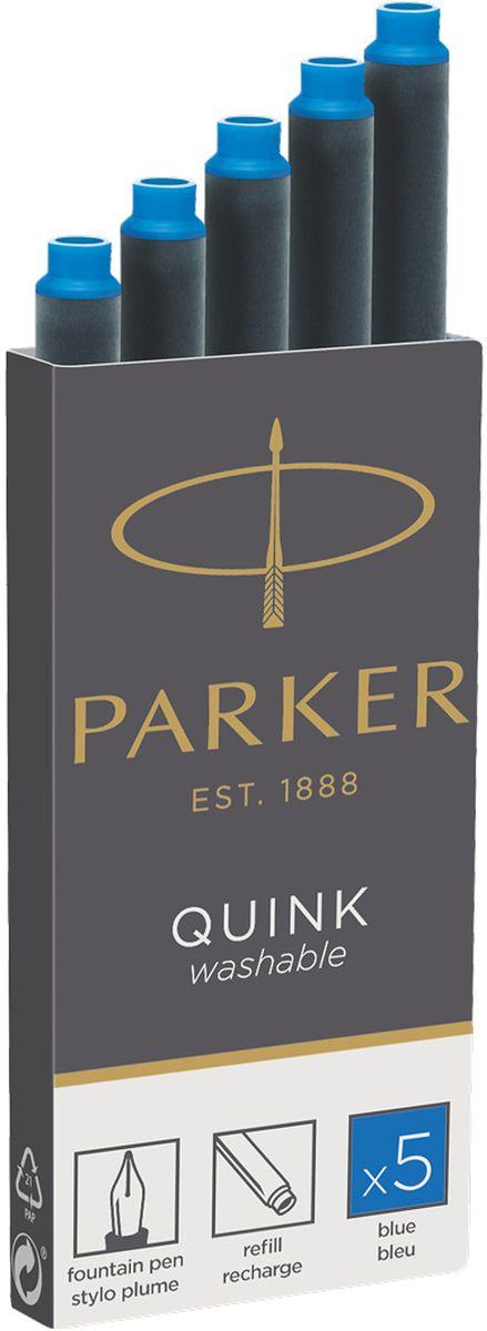 Parker Картридж с чернилами Quink Long для перьевой ручки цвет чернил синий 5 шт 1950383 картридж parker quink ink z11 для перьевых ручек чернила синие 5шт 1950383