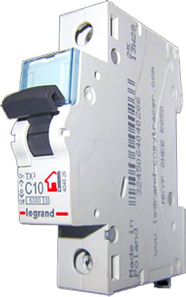 Выключатель автоматический Legrand TX3, 1П 10A (С) 6000К