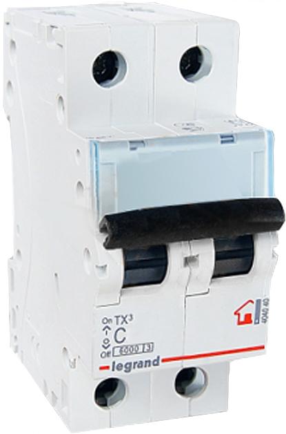 Автоматический выключатель Legrand TX3, 2P 63A (С) 6000 автоматический выключатель sh202l 2p 10а с 4 5ка
