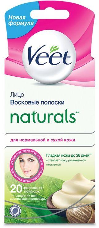 Veet Восковые полоски Naturals с маслом ши для чувствительных участков тела (лицо) Easy Gel-Wax, 20 шт