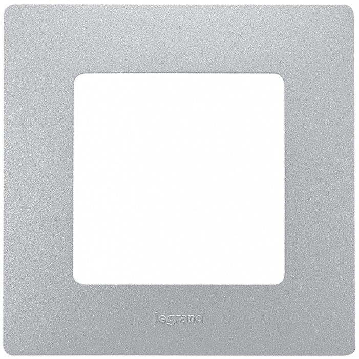 Рамка электроустановочная Legrand Etika, цвет: алюминиевый, на 1 пост рамка для розеток и выключателей горизонтальная 1 пост цвет бежевый