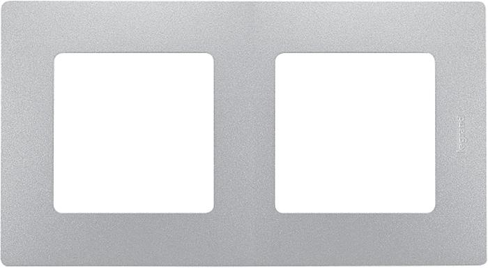 Рамка электроустановочная Legrand Etika, цвет: алюминиевый, на 2 поста рамка для розеток и выключателей bjb basic55 2 поста цвет чёрный
