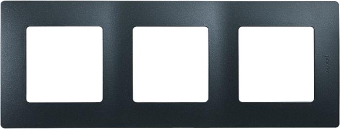 Рамка электроустановочная Legrand Etika, цвет: антрацит, на 3 поста рамка для розеток и выключателей bjb basic55 2 поста цвет чёрный