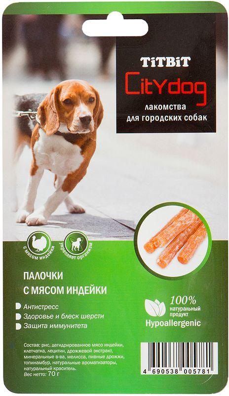 Снек Титбит City Dog. Палочки, с мясом индейки лакомства titbit сухие лакомства из субпродуктов пятачок диетический для собак 4 3л 008102 3161