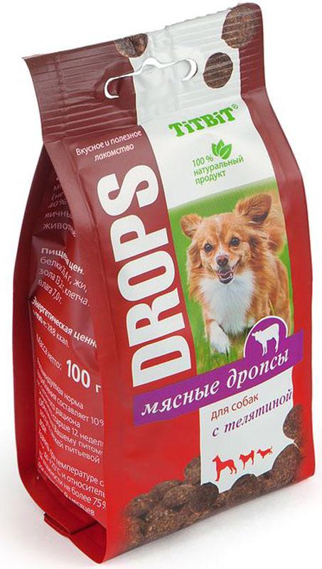 """Лакомство Titbit """"Дропсы"""", для собак, с телятиной, 100 г"""