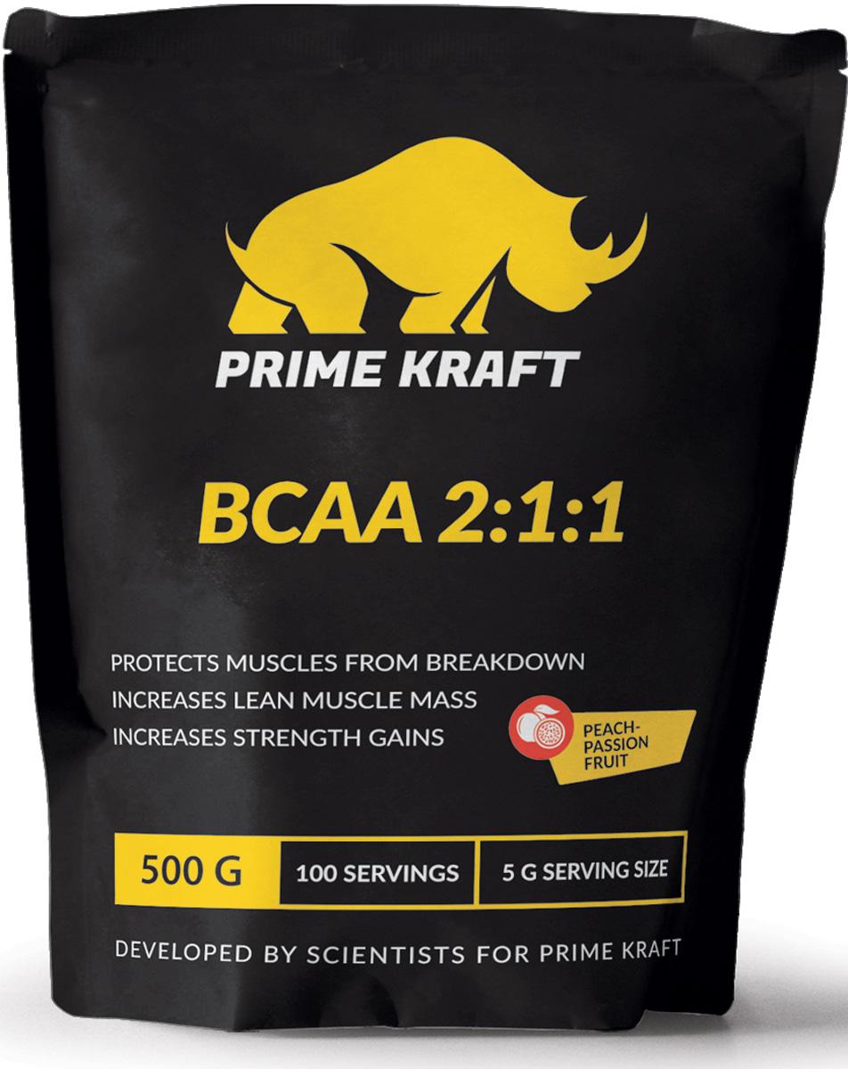 Напиток сухой Prime Kraft BCAA 2:1:1, коктейль фруктово-ягодный, персик, маракуйя, 500 г напиток сухой prime kraft aakg 2 1 коктейль фруктово ягодный ананас 200 г