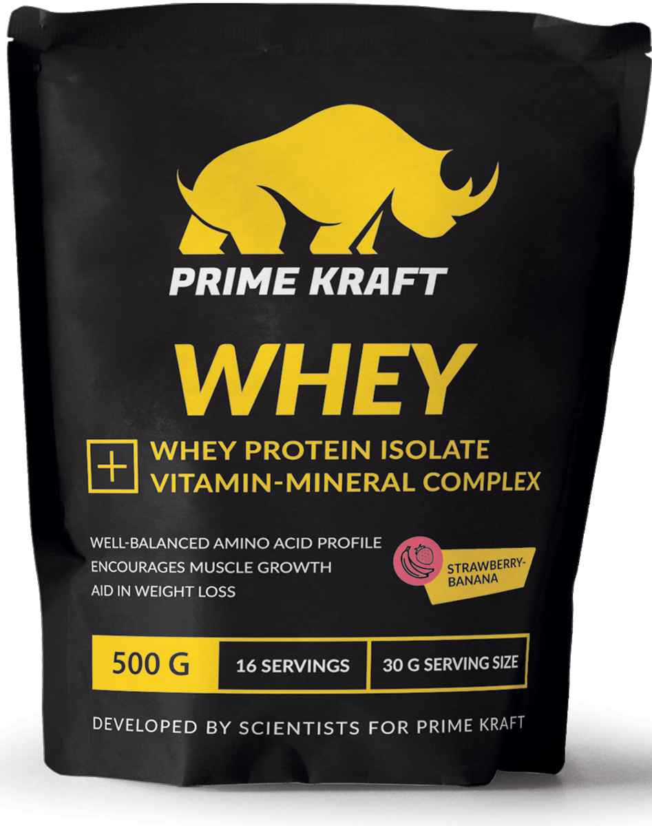 Напиток сухой Prime Kraft Whey, коктейль белково-витаминный, клубника, банан, 500 гЯБ016765Whey от российского производителя Prime Kraft состоит из двух видов сывороточного протеина: концентрата и изолята. Обе формы производятся из молочной сыворотки, образующаяся при изготовлении сыра. А благодаря ультрафильтрационному методу сохраняется природная структура белков. В свою очередь, это позволяет сохранить концентрацию питательных веществ, а ненужные элементы (углеводы и жиры) практически полностью удалить. Данный протеин из сыворотки содержит сбалансированный аминокислотный профиль. Аминокислоты являются основными материалами, обеспечивающими строительство новых мышечных клеток. Prime Kraft Whey - это не просто белковый коктейль, поскольку он улучшен витаминно-минеральным комплексом. Эти ценные вещества обеспечивают наилучшую усвояемость, регулируют функционирование многих жизненно важных процессов и улучшают работоспособность организма в целом. Рекомендации по применению: смешайте 30 г продукта с 200-250 мл воды или обезжиренного молока. В дни отдыха принимайте 2-3 раза в день между приемами пищи, в тренировочные дни утром, а также до и после тренировки. Состав: протеиновая смесь (концентрат сывороточного белка, изолят сывороточного белка), ароматизатор, молочная кислота, натуральный краситель, ксантановая камедь, гуаровая камедь, лимонная кислота, минеральная смесь (карбонат кальция, хлорид калия, оксид магния, сульфат железа, оксид цинка, сульфат меди, сульфат марганца, йодат калия, селенит натрия), витаминная смесь (аскорбиновая кислота, ацетат токоферола...