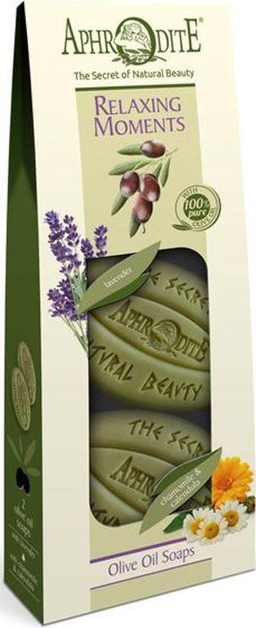 Aphrodite Набор мыла оливкового Время для релакса: с лавандой, с ромашкой и календулой, 2 х 170 г наша мама мыло с ромашкой и календулой 100г