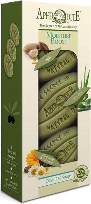 Фото - Aphrodite Набор мыла оливкового Интенсивное увлажнение: с арганой, с алоэ вера, с ромашкой и календулой, 3 х 255 г korres мыло для лица с ромашкой мыло для лица с ромашкой