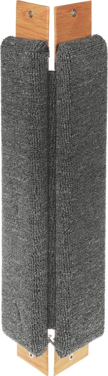 Когтеточка Неженка, угловая, с кошачьей мятой, цвет: серый, коричневый, 51 х 20 х 2,5 см когтеточка угловая неженка с кошачьей мятой цвет темно серый коричневый 68 х 30 х 2 5 см