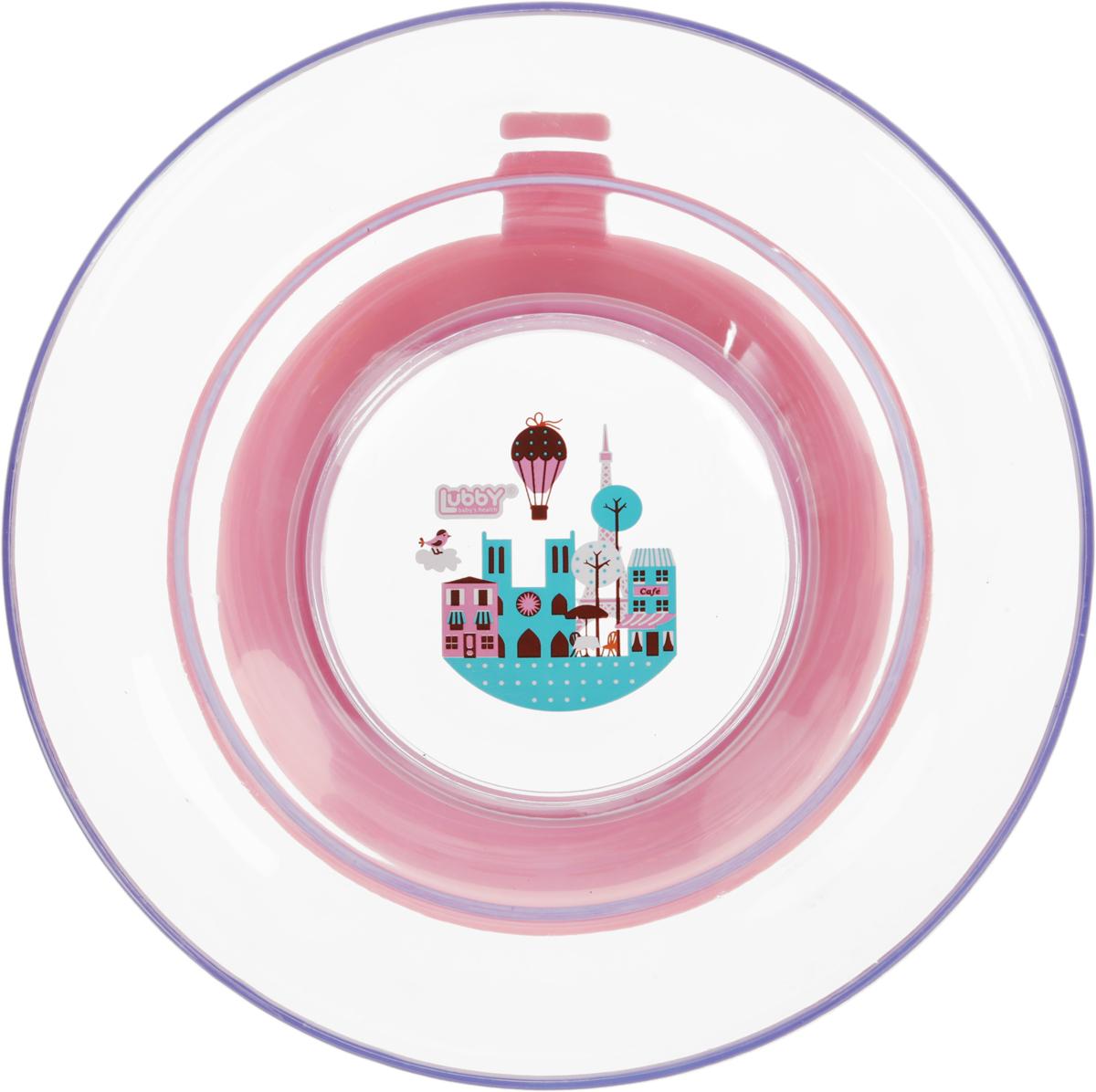 цена на Lubby Тарелка для кормления с присоской Любимая цвет розовый