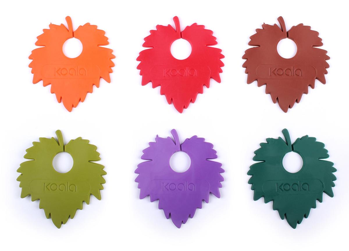 Маркеры для бокалов Koala Wine Leaf, 6 шт, разноцветный маркеры для бокалов cool wine qualy
