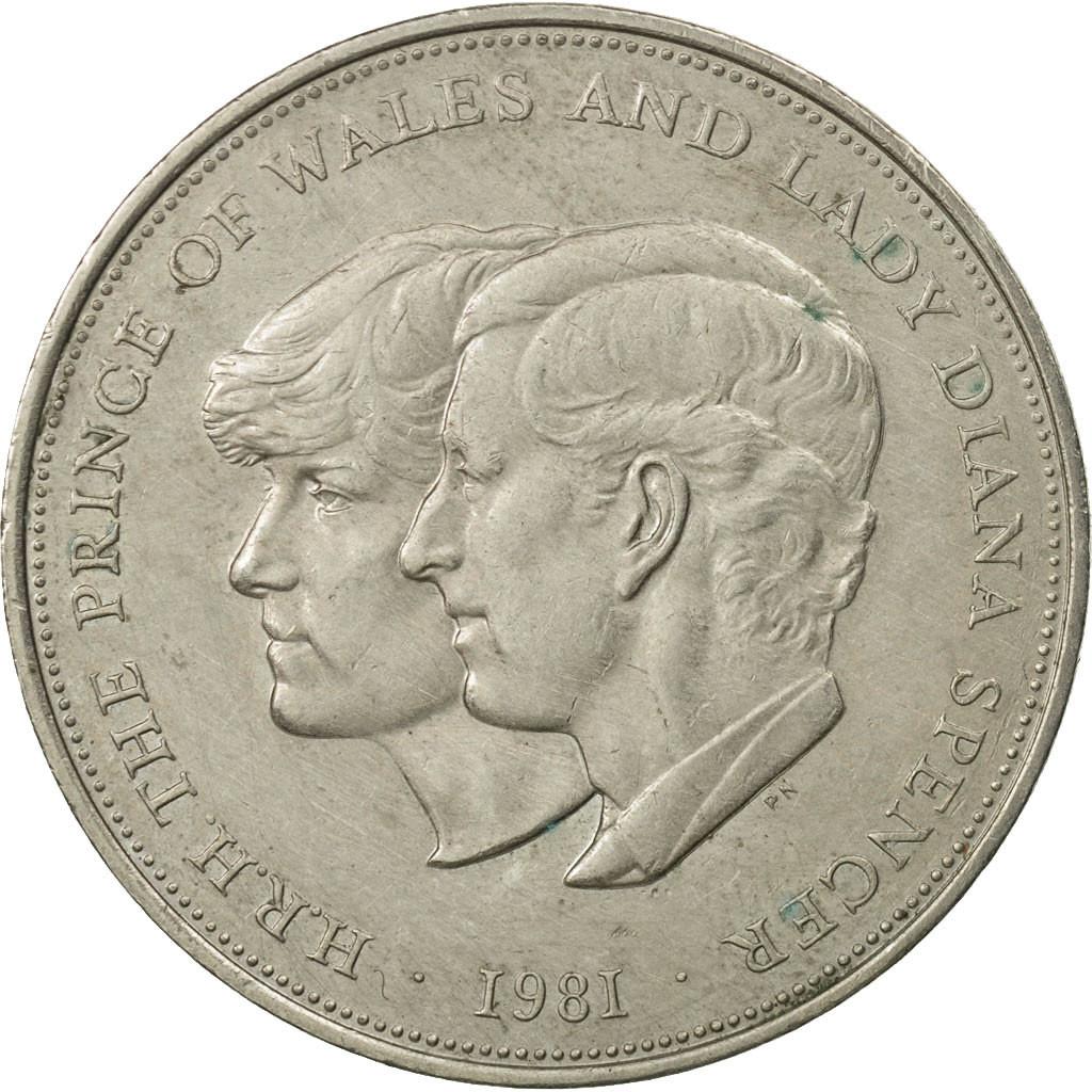 Монета номиналом 1 крона Свадьба принца Чарльза и леди Дианы. Медно-никелевый сплав. Великобритания, 1981 год монета номиналом 50 копеек 50 лет советской власти медно никелевый сплав ссср 1967 год