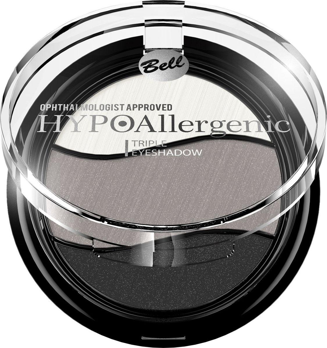 Bell Hypoallergenic Тени для век трехцветные, гипоаллергенные Triple Eyeshadow, Тон №08