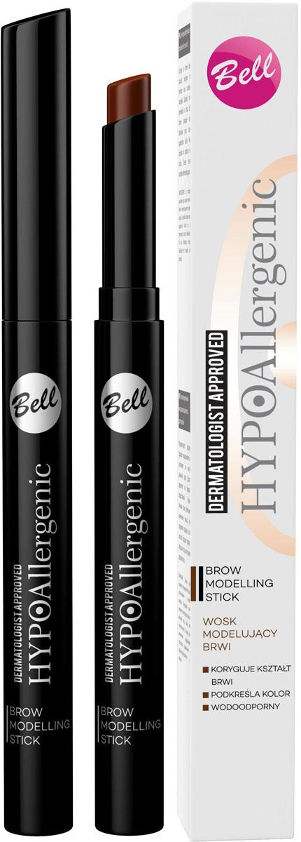 Bell Hypoallergenic Воск для бровей моделирующий, гипоаллергенный Brow Modelling Stick, Тон №02, 4 мл bell hypoallergenic корректор маскирующий гипоаллергенный в стике skin stick concealer тон 02 4мл