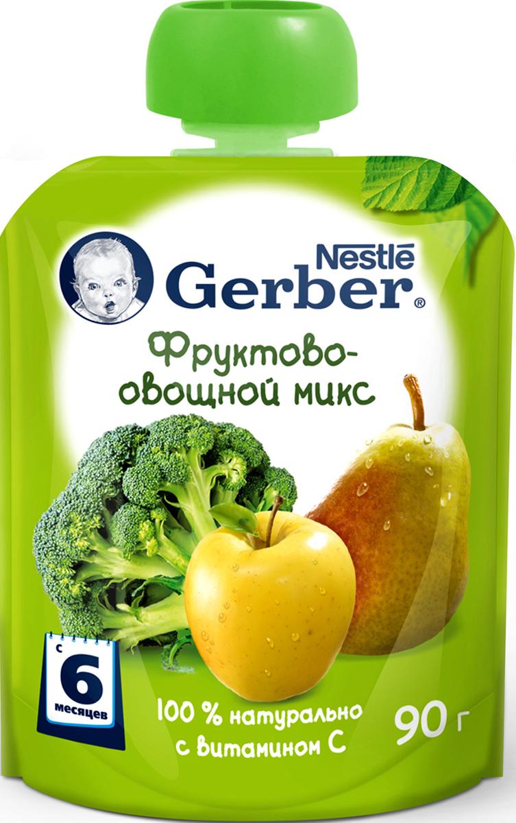 Gerber пюре фруктово-овощной микс, с 6 месяцев, 90 г пюре gerber organic тыква и сладкий картофель с 5 мес 125 г