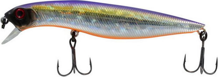 Воблер Tsuribito Dead Minnow SS, цвет: фиолетовый, желтый, серый (072), длина 90 мм, вес 11,7 г