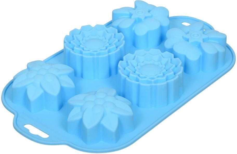 Форма для запекания Marmiton Цветочки, силикон, 29 х 17 см, 6 ячеек набор форм для выпечки печенья marmiton цветочки 16181