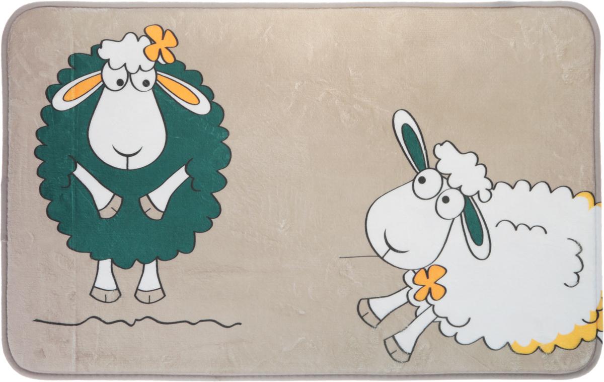 Коврик для ванной комнаты Tatkraft Funny Sheep, цвет: бежевый, зеленый, белый, 50 см х 80 см