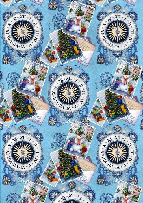 Бумага упаковочная Magic Time Праздничные марки, мелованная, 100 х 70 см