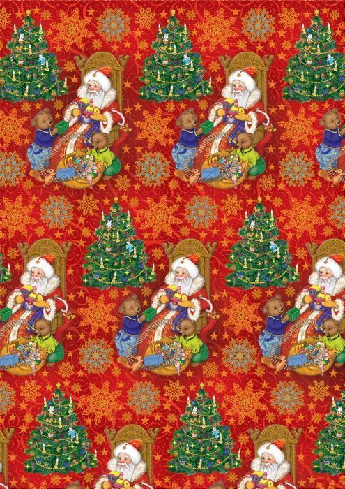 Упаковочная бумага Magic Time Дед мороз и два медвежонка, мелованная, 100 х 70 см пакет подарочный magic time дед мороз и дети 26 х 32 4 х 12 7 см
