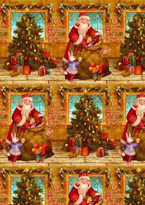 Упаковочная бумага Magic Time Дед мороз и зайчики, мелованная, 100 х 70 см пакет подарочный magic time дед мороз и дети 26 х 32 4 х 12 7 см