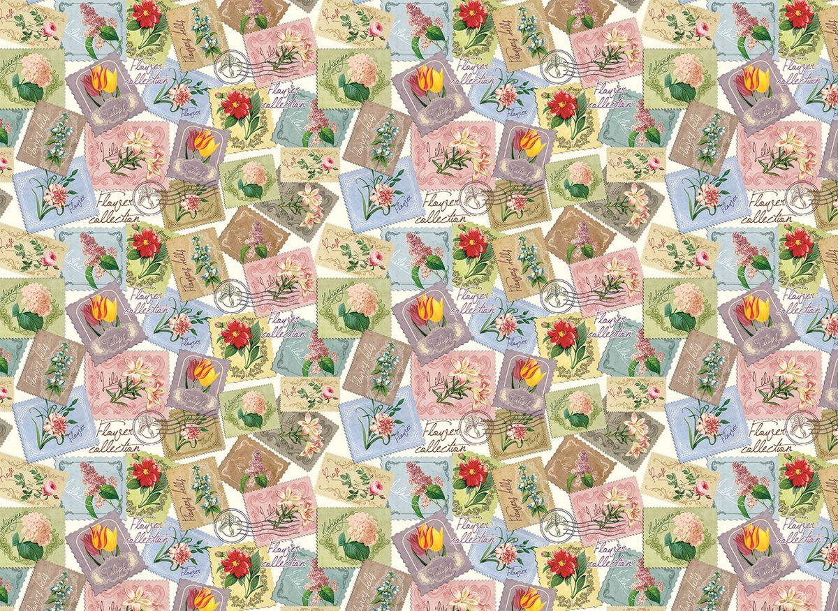 """Упаковочная бумага Magic Home """"Марки с цветами"""", мелованная, 100 х 70 см"""