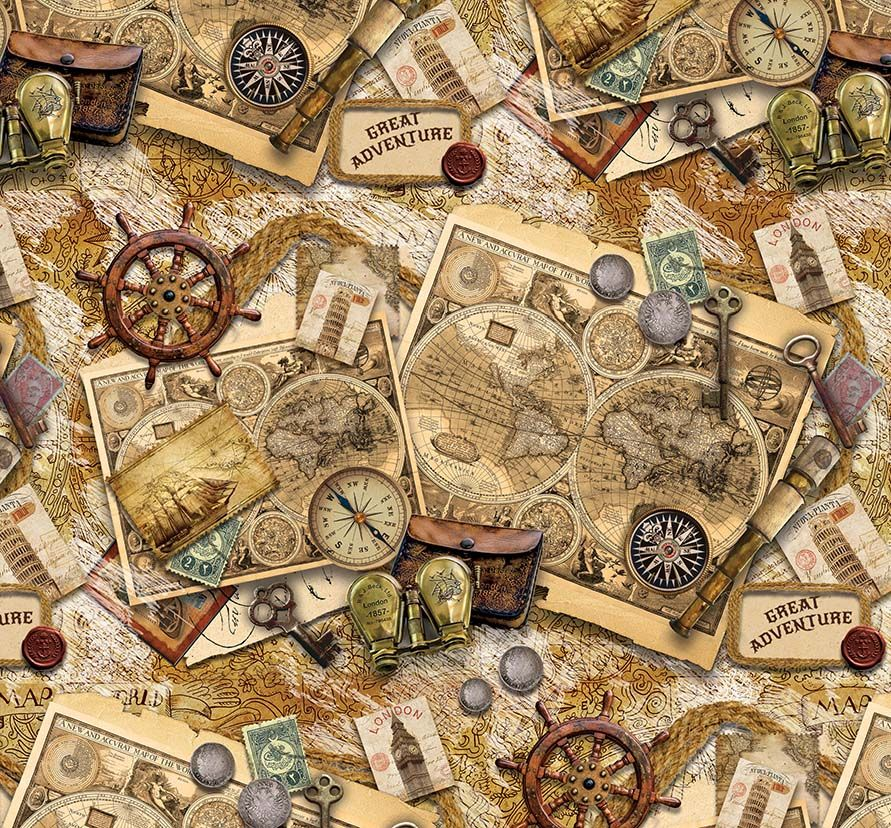 "Упаковочная бумага Magic Home ""Старые карты"", мелованная, 100 х 70 см"