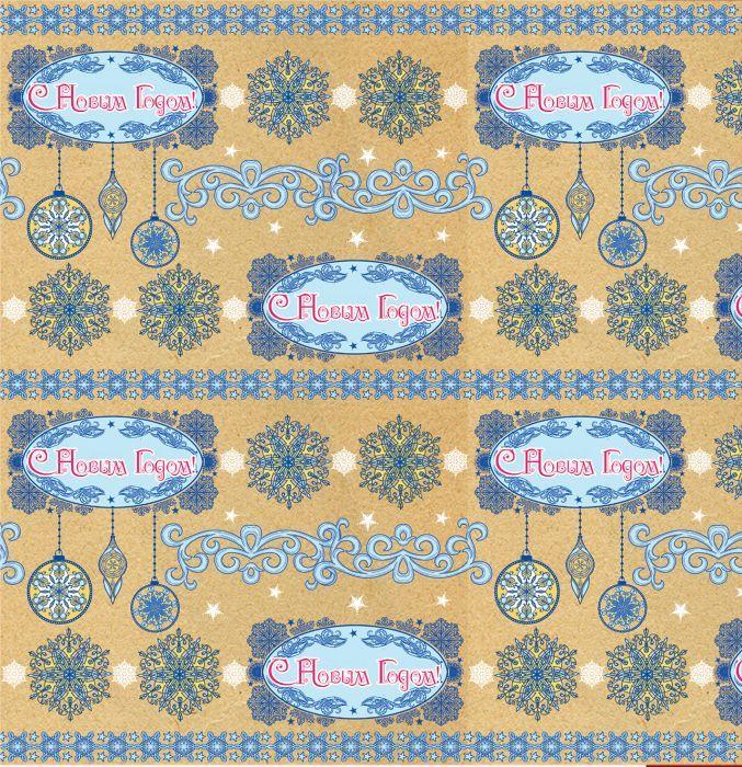 "Крафт бумага Magic Time ""Голубые узоры"", немелованная, 100 х 70 см"