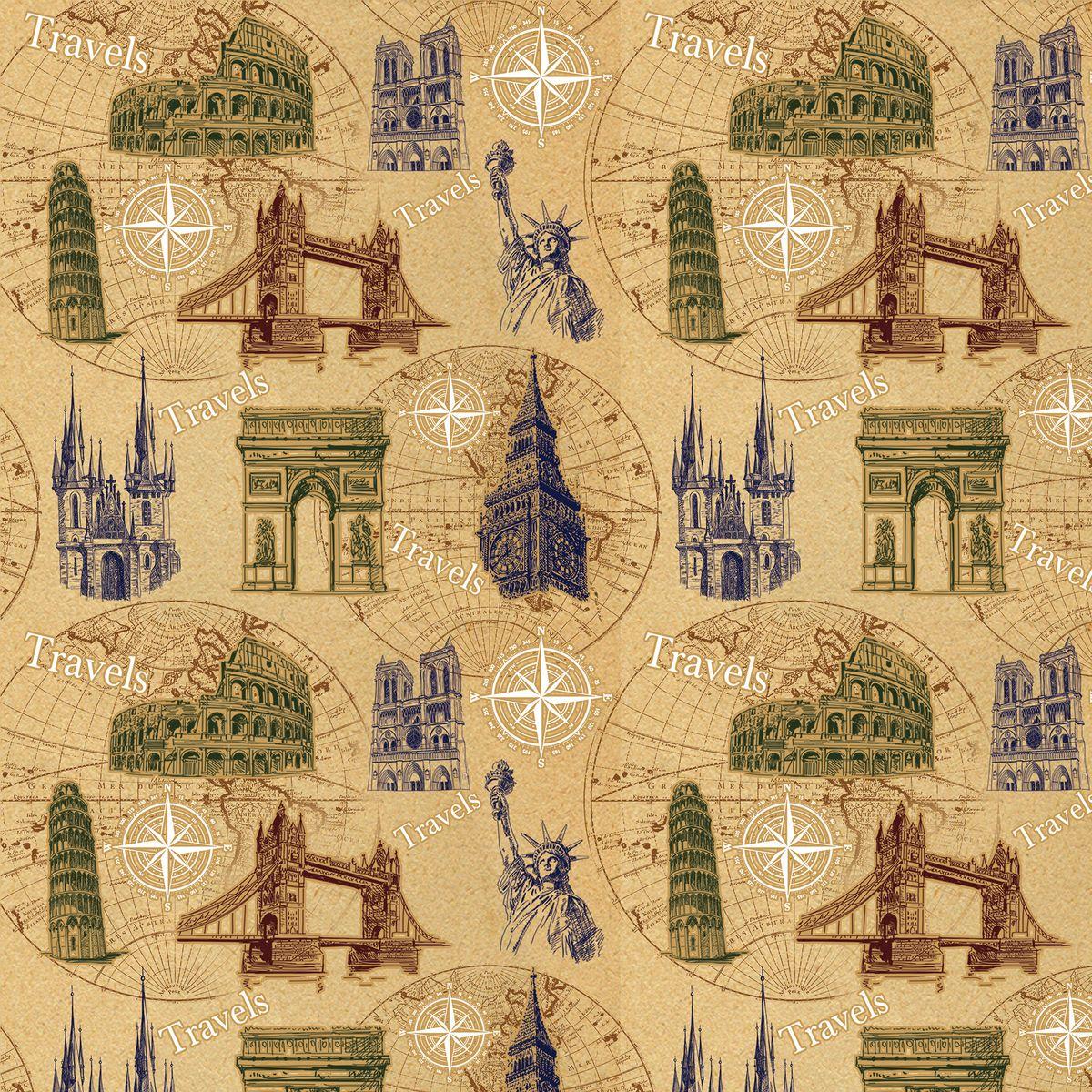 """Крафт бумага Magic Home """"Достопримечательности"""", немелованная, 100 х 70 см"""