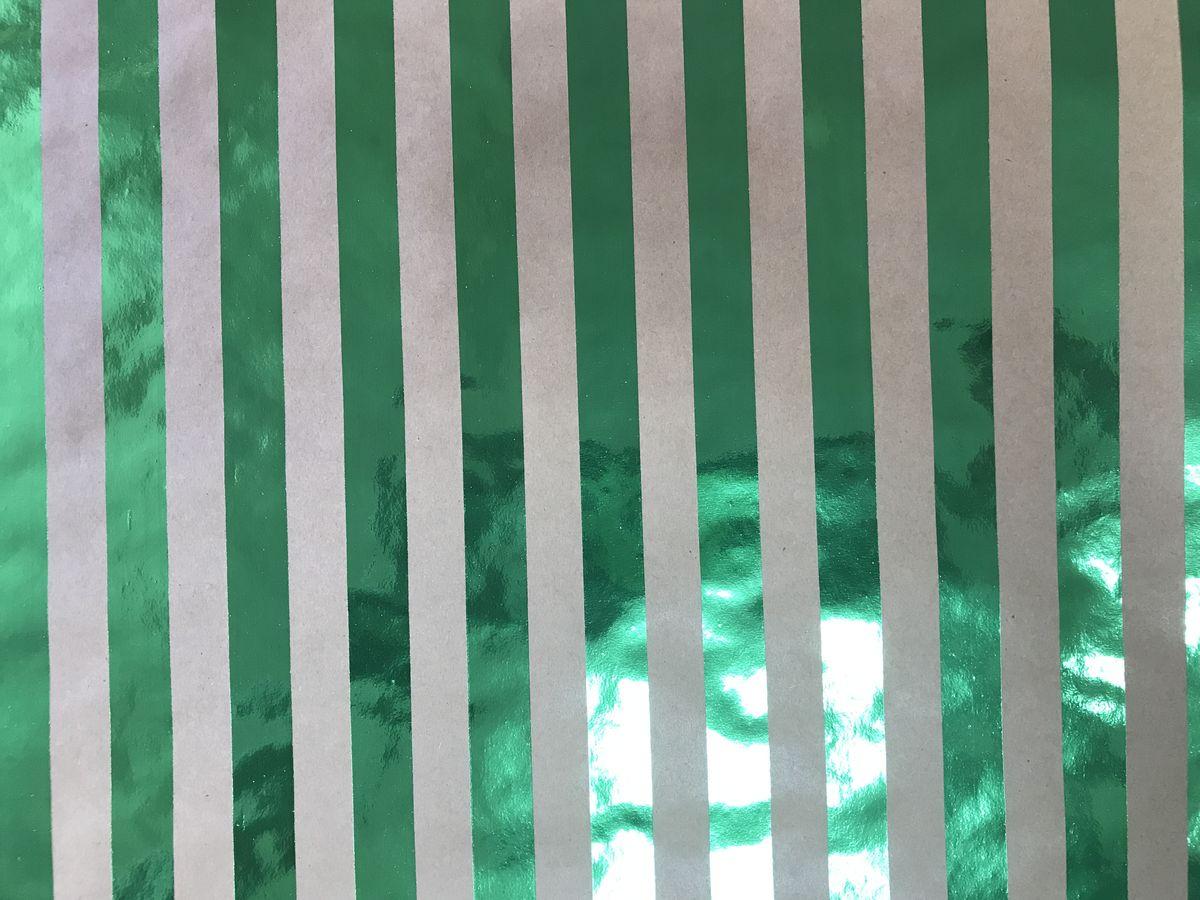 "Крафт бумага Magic Time ""Зеленые полоски"", немелованная, 100 х 70 см"