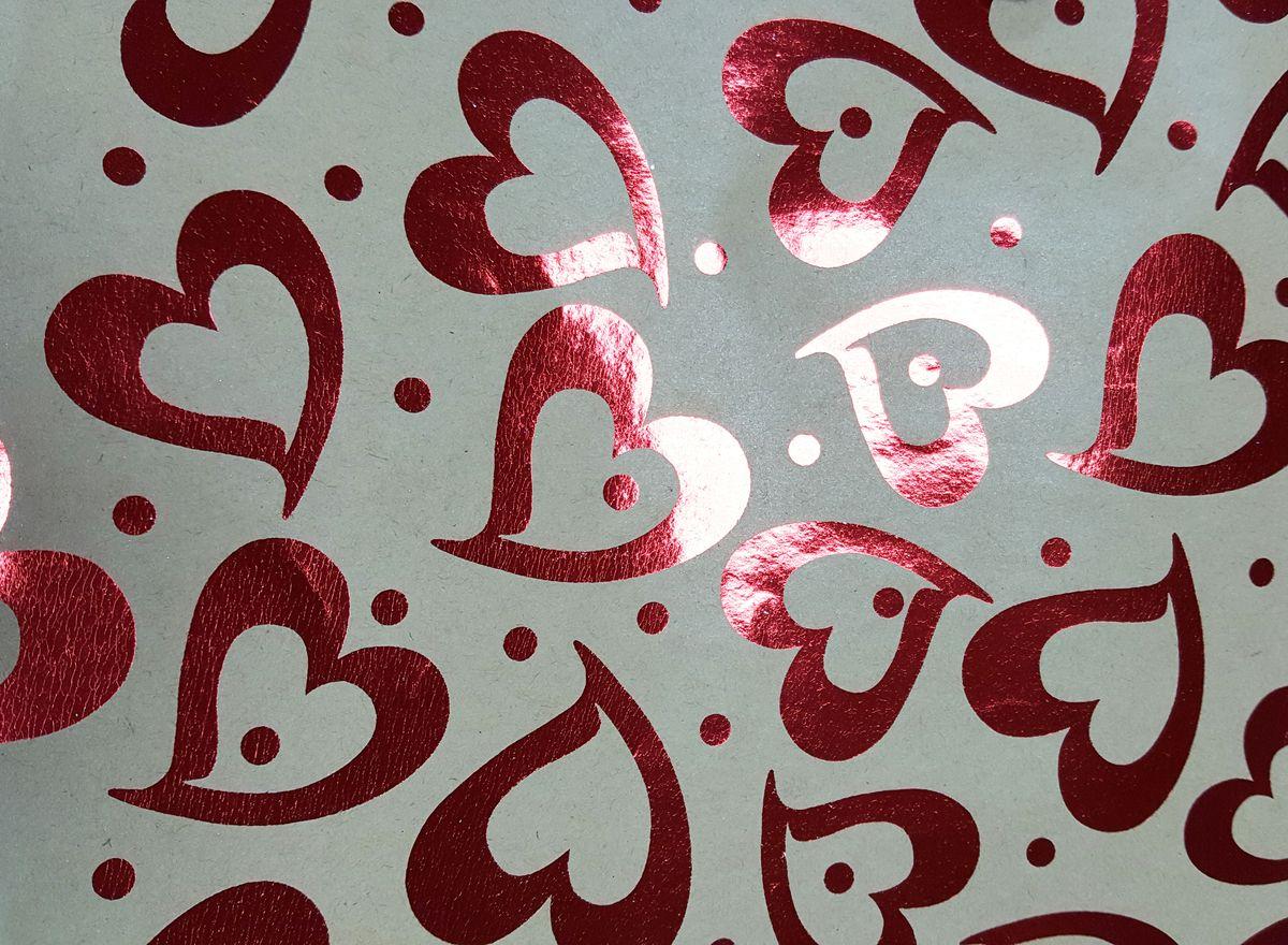 """Крафт бумага Magic Time """"Красные сердца"""", немелованная, 100 х 70 см"""