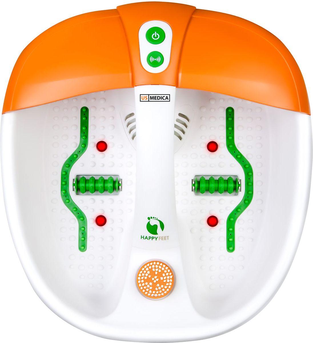 US Medica Гидромассажная ванна для ног Happy Feet (белый/оранжевый)