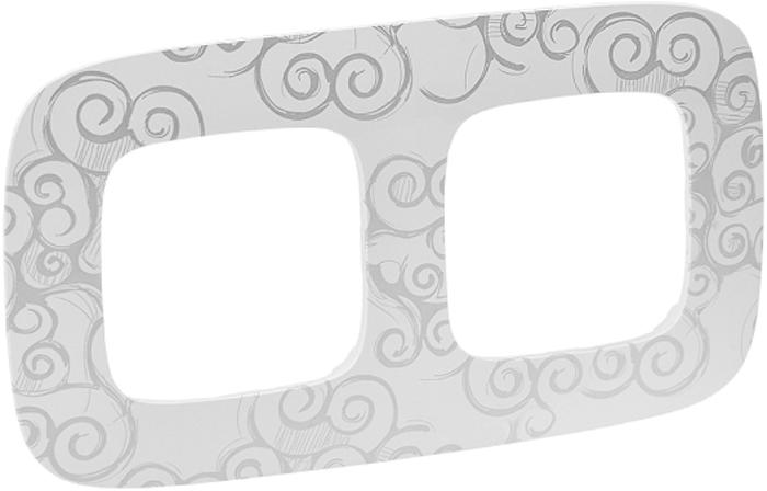 Рамка электроустановочная Legrand Valena Allure Нарцисс, цвет: хром, на 2 поста рамка для розеток и выключателей bjb basic55 2 поста цвет чёрный