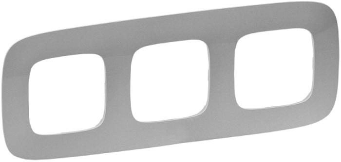 Рамка электроустановочная Legrand Valena Allure, цвет: алюминиевый, на 3 поста рамка для розеток и выключателей bjb basic55 2 поста цвет чёрный