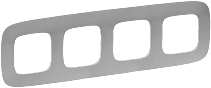 Рамка электроустановочная Legrand Valena Allure, цвет: алюминиевый, на 4 поста рамка для розеток и выключателей bjb basic55 2 поста цвет чёрный