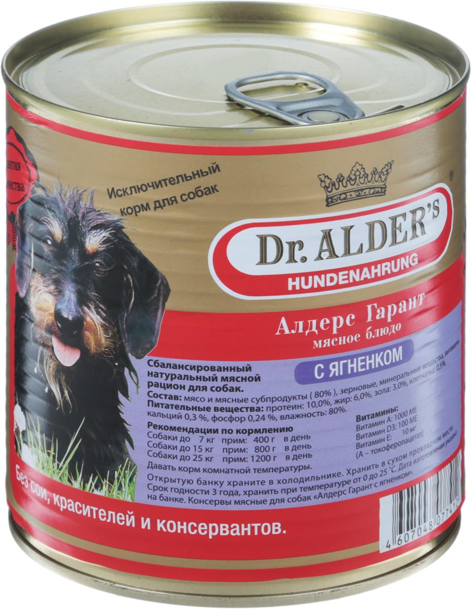 Консервы Dr. Alders Алдерс Гарант для взрослых собак, с ягненком, 750 г dr oetker пикантфикс для грибов 100 г