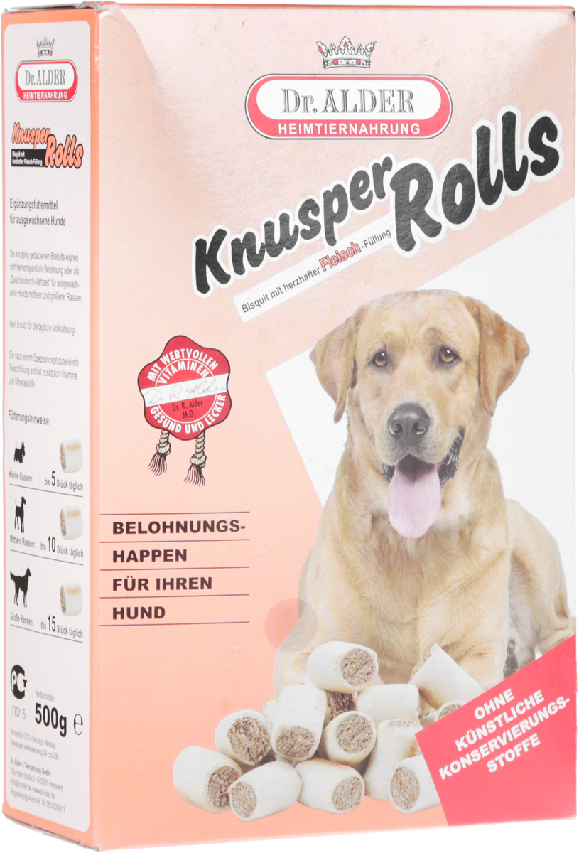 Лакомство для собак Dr. Alders Кнуспер Роллс, 500 г dr oetker пикантфикс для грибов 100 г