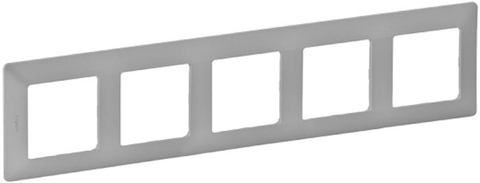 Рамка электроустановочная Legrand Valena Life, на 5 постов, цвет: алюминиевый цены