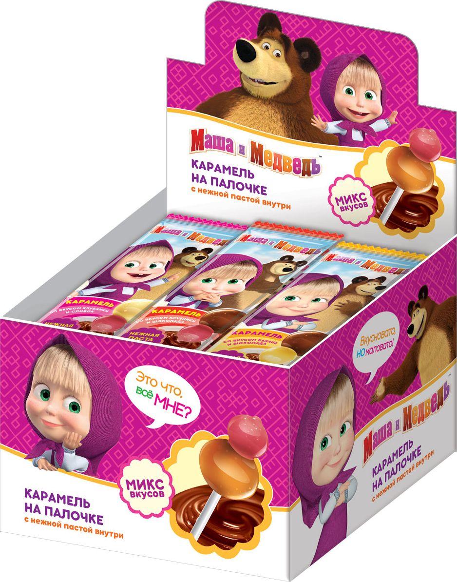 Конфитрейд Маша и Медведь карамель леденцовая на палочке с пастой со вкусом шоколада, 24 шт по 17 г цена