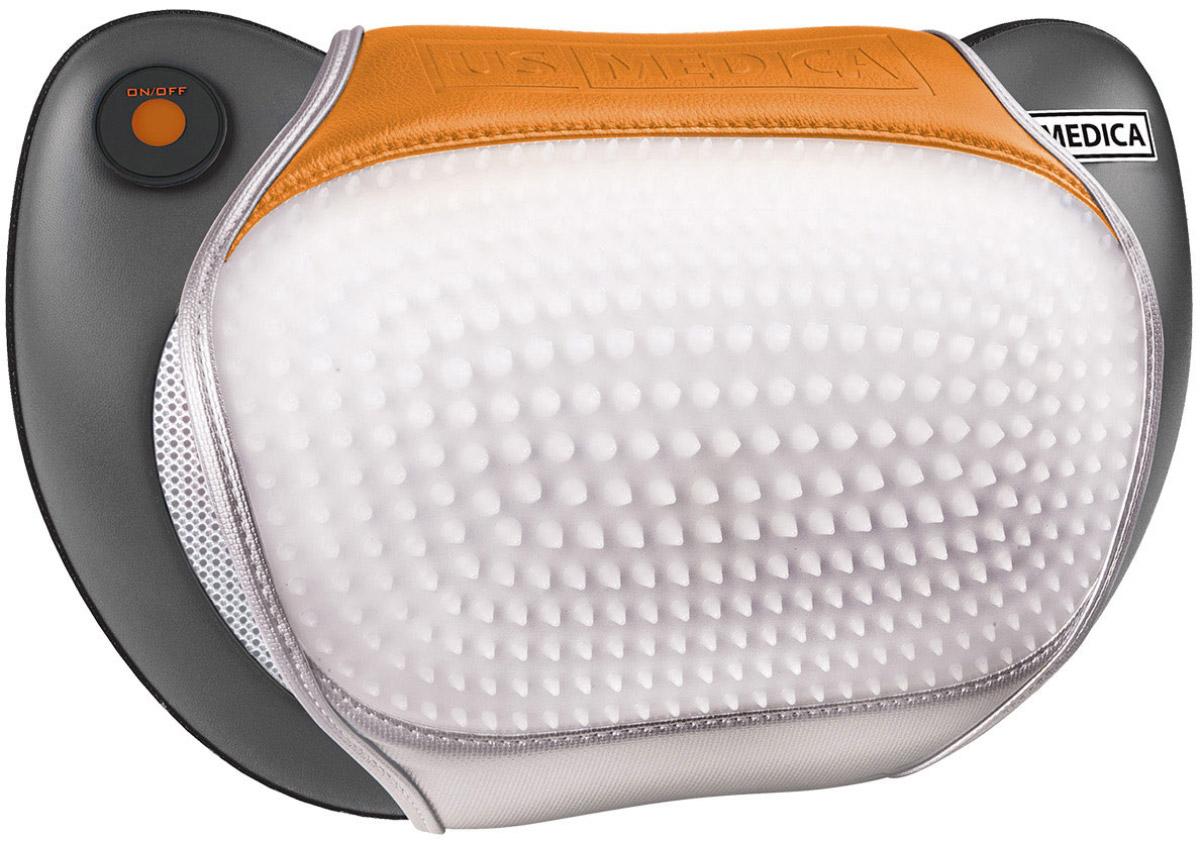 US Medica Массажная подушка Apple Way Plus (серая)2233С помощью подушки US MEDICA Apple WAY Plus вы сможете размять мышцы шеи, плеч, верхней части спины, поясницы и даже ног. 2 часа непрерывной работы: Благодаря встроенному аккумулятору использовать подушку можно где угодно и когда угодно, можно даже взять ее на природу или пикник. Поможет снять напряжение в шее и пояснице тем, кто много времени проводит за рулем. Сочетание массажа с прогревом максимально быстро помогает снять боль. Подушка сохраняет функциональность 24 часа в сутки. Массажер работает даже во время подзарядки от сети 220В и в машине от 12 В. Массажная подушка Apple WAY очень легкая, Вы сможете брать ее всегда с собой в отпуск или офис. Аккупунктурную накидку Вы можете расположить под ногами и выполнить акупунктурный массаж стоп. Материал, из которого сделана терапевтическая накидка – кожзаменитель очень высокого качества, куда встроены мягкие пластиковые шипы. Шипы обеспечивают более полноценную и глубокую проработку каждой мышцы Универсальный подарок для мужчин, женщин и детей. Дополнительная акупунктурная накидка в комплекте 4 массажных ролика 2 направления вращения роликов Таймер: 15 минут Материал изготовления: высококачественный арпатек Время непрерывной работы: 2 часа Зарядка аккумулятора: 3 часа Вес нетто: 1,6 кг
