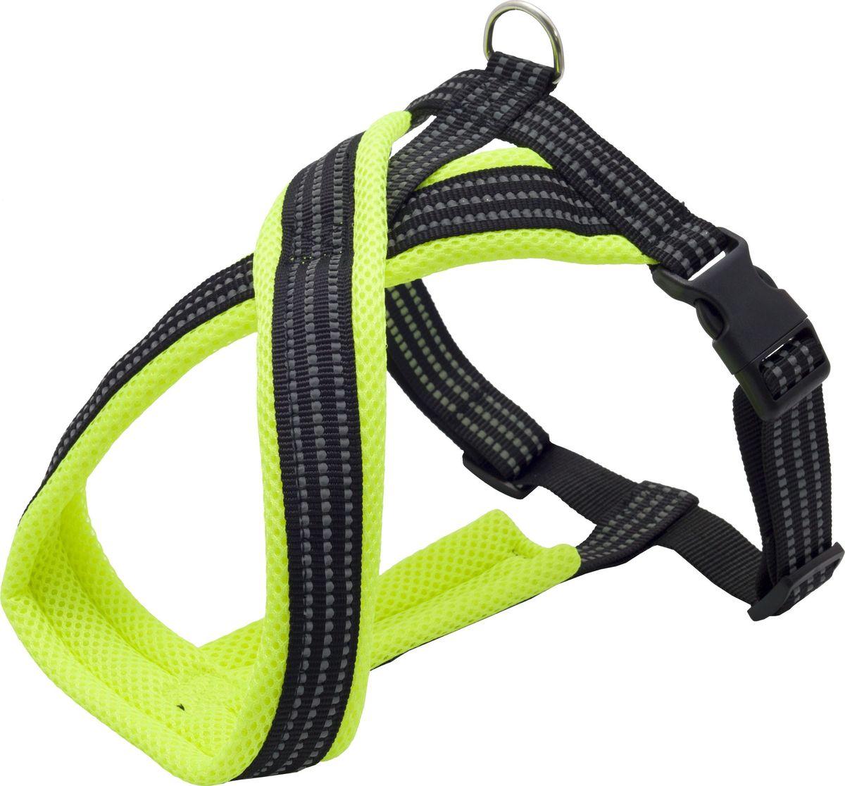 Шлейка для собак Каскад, цвет: зеленый, 1,5 х 26 х 34-45 см шлейка для собак каскад цвет красный 1 5 х 30 50 см