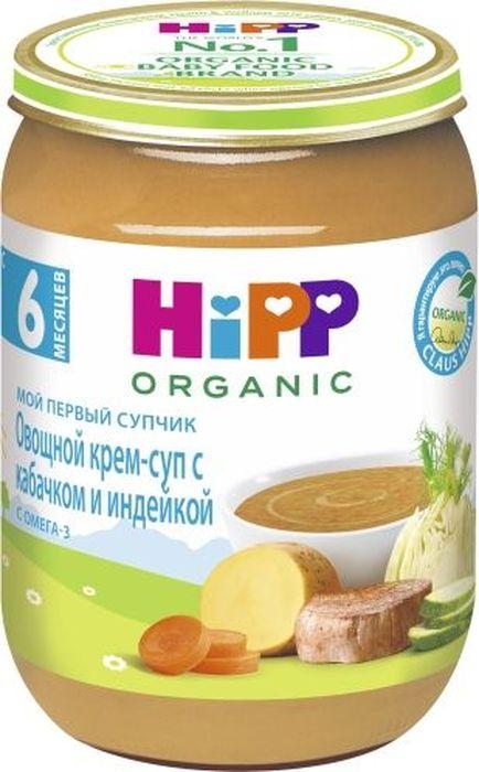 Hipp крем суп овощной с кабачком и индейкой, мой первый супчик, с 6 месяцев, 190 г9062300128441Пюре от торговой марки Hipp изготовлено специально для питания детей. Мясо птицы содержит много белка и микроэлементов, необходимых для роста и развития ребенка. Индейка малокалорийна и очень питательна. Железо из мяса индейки легко усваивается, что является прекрасной профилактикой железодефицитной анемии у детей. Кабачок быстро усваиваются желудком, обладает общеукрепляющими свойствами, выводит из организма соли натрия и излишки холестерина. Суп полностью изготовлен из органических продуктов, выращенных специально для детского питания. Овощной крем-суп с кабачком и индейкой станет любимым блюдом вашего крохи и даст ему энергию расти и познавать мир! Сертифицированный органический продукт со знаком HiPP BIO. Суп обогащен Омега-3 жирными кислотами - важным компонентом гармоничного роста и развития. С маленькими кусочками, которые помогают сформировать жевательные навыки малыша. Щадящий режим производства для лучшего качества и вкуса. Пищевая ценность на 100/г продукта: белки - 2,6 г, жиры - 3,2 г, углеводы - 6,0/г, линолевая кислота (Омега-3) - 0,16 г, пищевые волокна - 1,0/г.