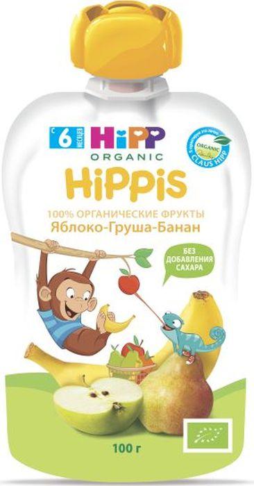 Hipp пюре яблоко, груша, банан, 6 месяцев, 100 г