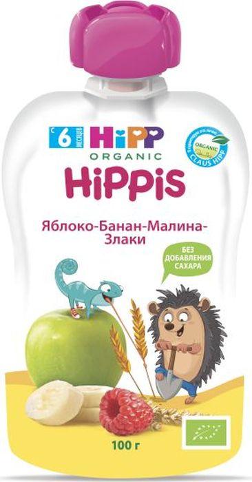 Hipp пюре яблоко, банан, малина, злаки, 6 месяцев, 100 г