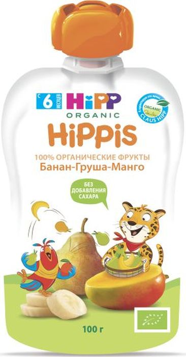 Hipp пюре банан, груша, манго, 6 месяцев, 100 г