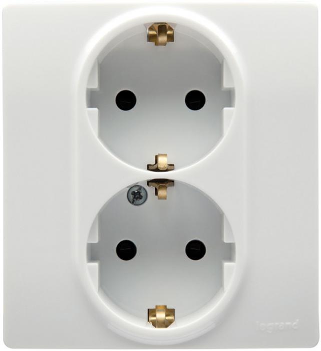 Розетка двойная Legrand Etika, с заземлением, цвет: белый цена