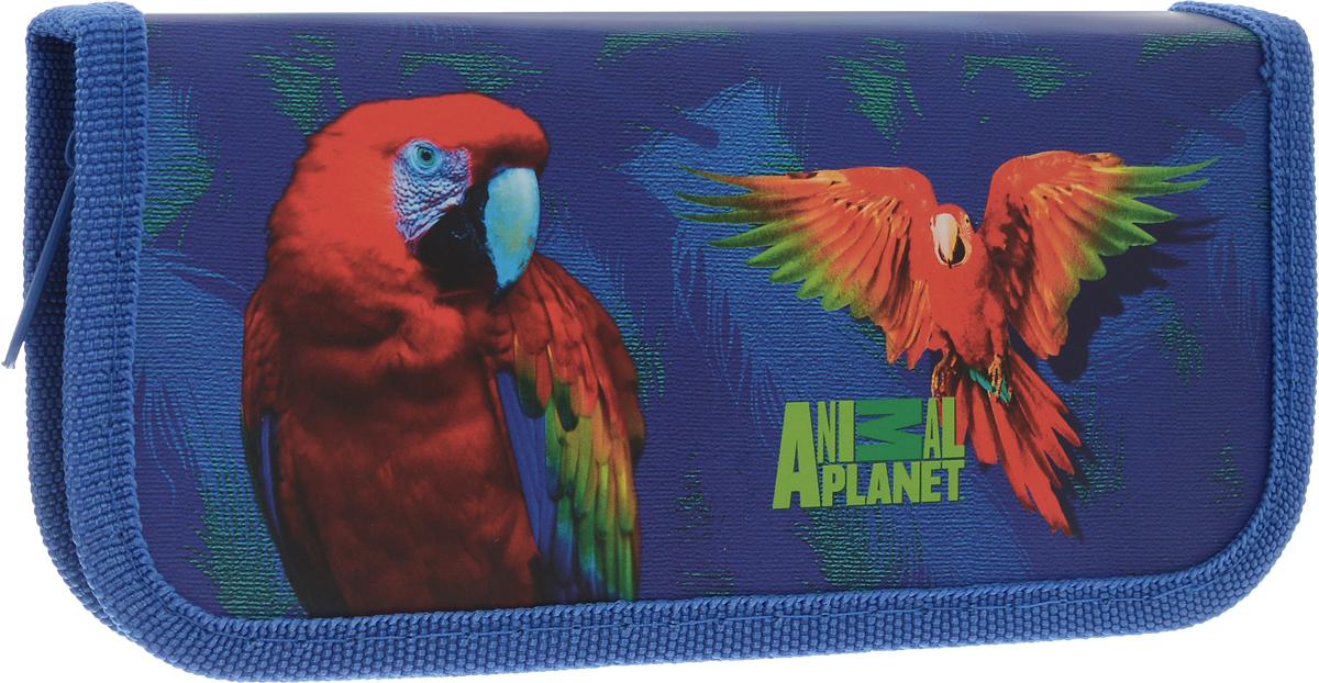 Action! Пенал Animal Planet Попугай цвет синий канцелярский набор action animal planet 6 предметов pvc пенал