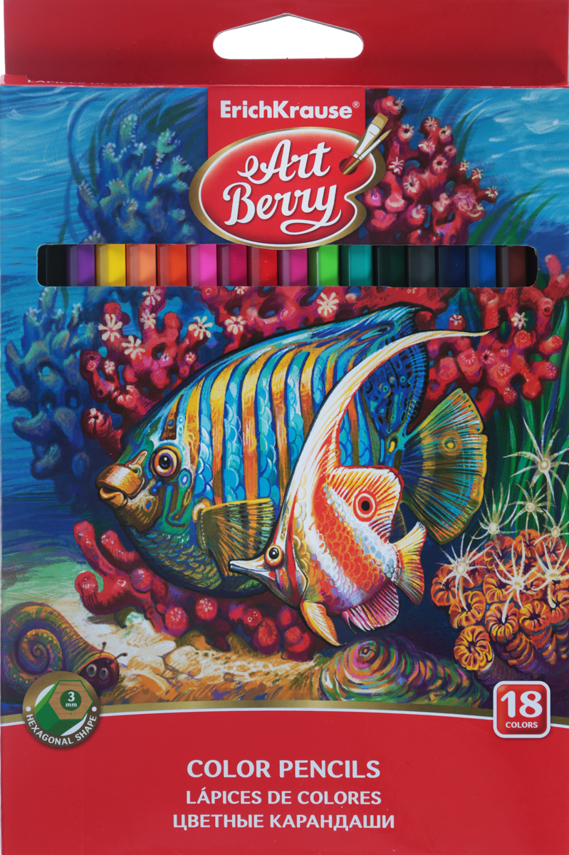 Цветные карандаши шестигранные ArtBerry, 18 цветов erich krause набор цветных акварельных карандашей с кисточкой 12 шт