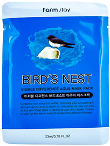 FarmStay Тканевая маска с экстрактом ласточкиного гнезда, 23 г farmstay маска тканевая для лица увлажняющая с экстрактом ласточкиного гнезда visible difference bird s nest aqua mask pack 23 мл